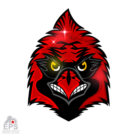 Bird head isolated on white. icon for any sport team cardinals