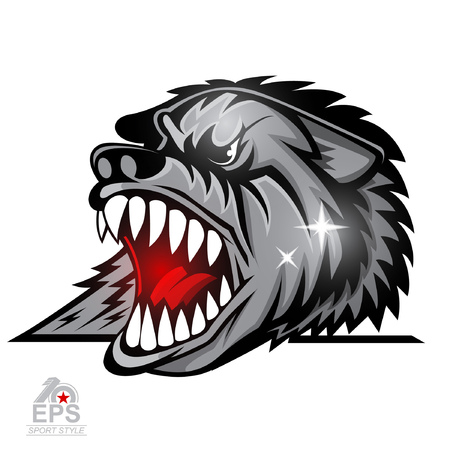 Beast head with bared teeth isolated on white. Logo for any sport team wolves