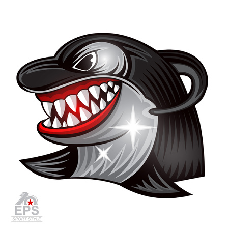 Orca face in profile with bared teeth icon for any sport team isolated on white Illustration