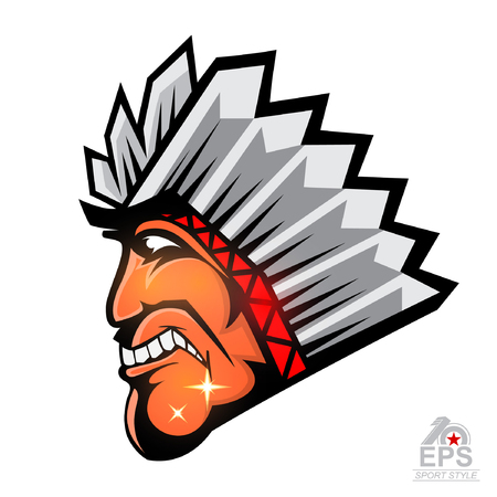 Indian face in profile with feathers isolated on white. icon  for any sport team redskins Vettoriali