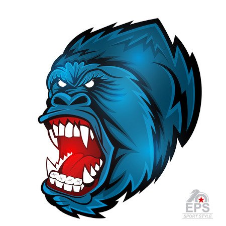 Monkey head with bared teeth isolated on white. icon  for any sport team gorillas