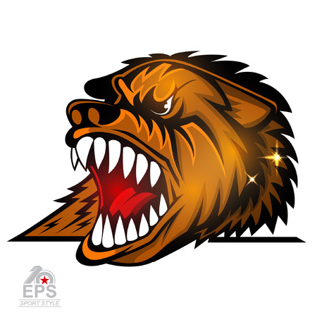 Beast head with bared teeth isolated on white. icon  for any sport team bears