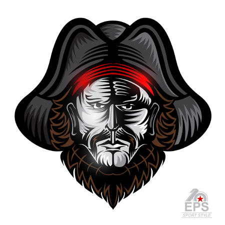 Beard man face with cocked hat isolated on white. icon  for any sport team pirates