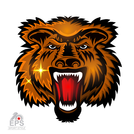 Beast face from the front with bared teeth isolated on white. icon  for any sport team grizzly