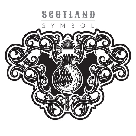 Silhouette of thistle pattern with crown. Design element black on white Illustration