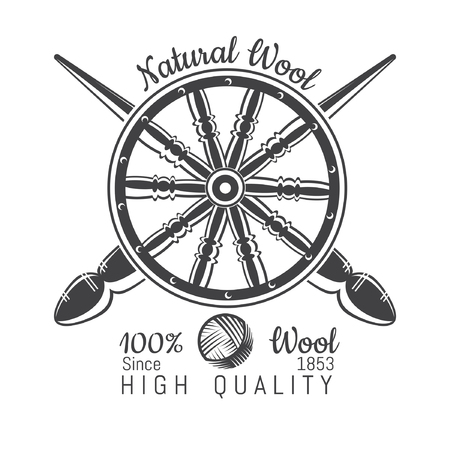 Wheel distaff with crossed spindle with yarn. Logo for craft related site or business Illusztráció