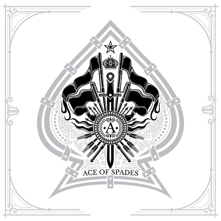 Coat of arms with crossed flags and vertical sword in the center of ace of spades. Brand or T-shirt style on white 일러스트