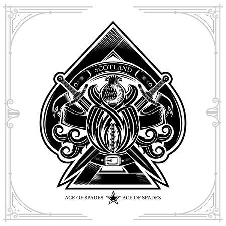 Ace of spades from thistle floral pattern and cross sword inside. Design element black on white