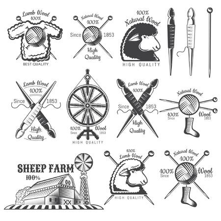 Satz der Aufkleberwollschäferei. Logo für gestrickte handwerksbezogene Website oder Unternehmen