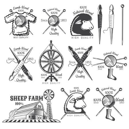 Set of labels wool sheep farm. Logo for knitted craft related site or business