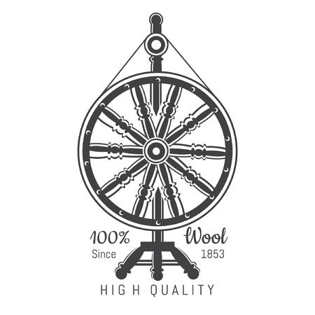 Spinnrädchen mit Garn. Logo für handwerksbezogene Website oder Unternehmen