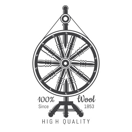 Wheel distaff with yarn. Logo for craft related site or business