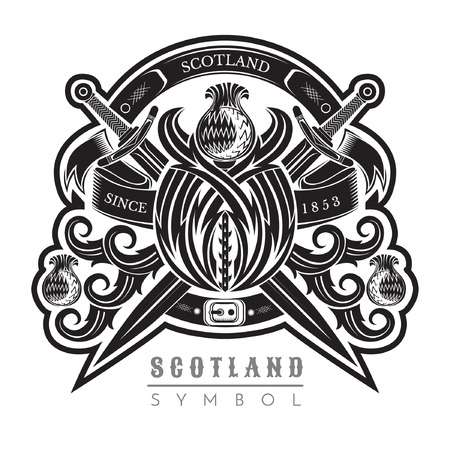 Silhouette of thistle pattern with cross sword. Design element black on white Vectores