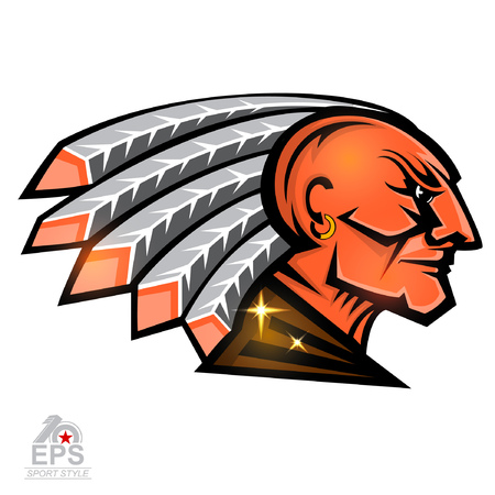 Man face profile with feathers in the head. Sport logo isolated on white