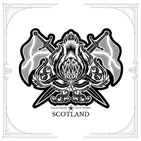 Ace of spades from thistle floral pattern and cross sword and flags. Design element black on white