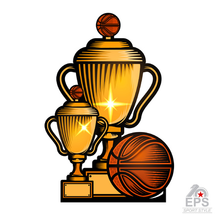 Two golden basketball cups with ball. Sport logo for any team or competition isolated on white Illustration