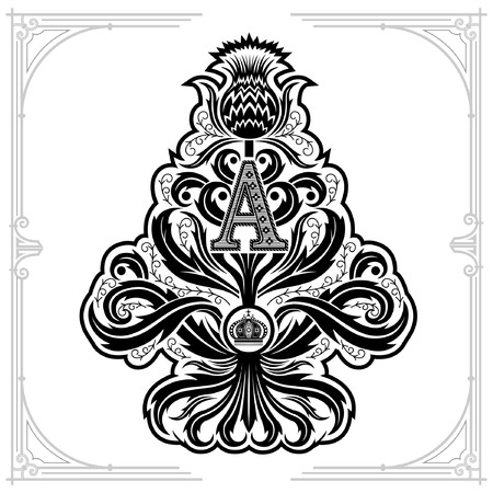 Ace of spades from thistle floral pattern and capital letter A inside. Design element black on white Illustration