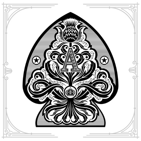 Ace of spades from thistle floral pattern with capital letter A and crown inside. Design element black on white