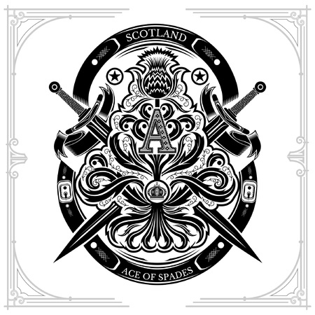 Ace of spades from thistle floral pattern with cross sword and capital letter A nside. Design element black on white Standard-Bild - 124341242