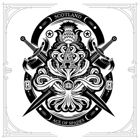 Ace of spades from thistle floral pattern with cross sword and capital letter A nside. Design element isolated on white