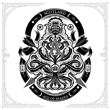 Ace of spades from thistle floral pattern with cross arrow and capital letter A nside. Design element black on white Standard-Bild - 124341244