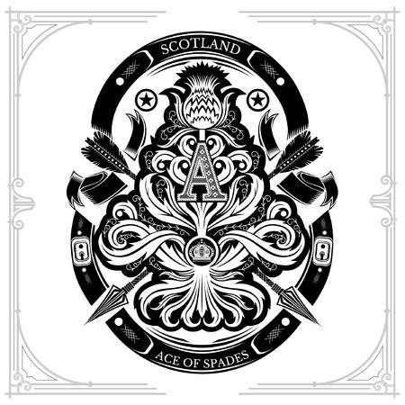As de espadas del patrón floral de cardo con flecha cruzada y letra mayúscula A nside. Elemento de diseño aislado en blanco