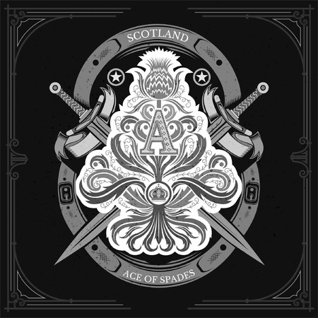 Ace of spades from thistle floral pattern with cross sword and capital letter A nside. Design element isolated white on blackboard