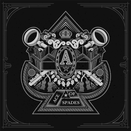 Ace of spades form with crossed keys and vintage elements inside. Design playing card element white on black