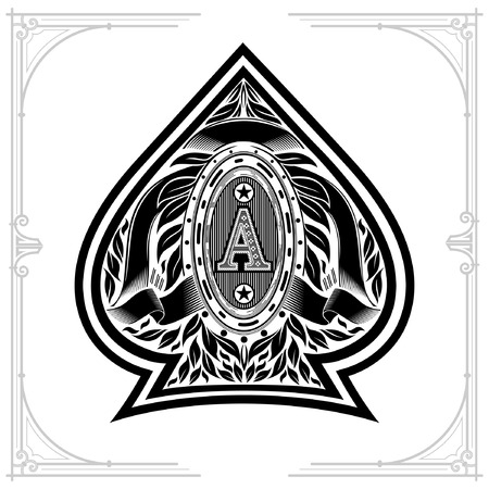 Ace of spades form with oval frame between laurel wreth and ribbon inside. Design playing card element black on white