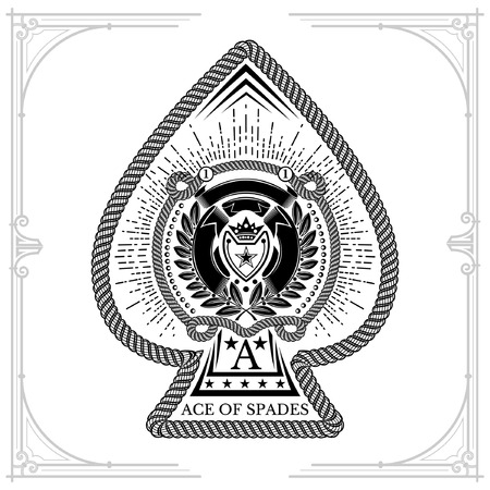 Ace of spades form with shield with crown between laurel wreath, cord and ribbon pattern inside. Marine design playing card element black on white Ilustração
