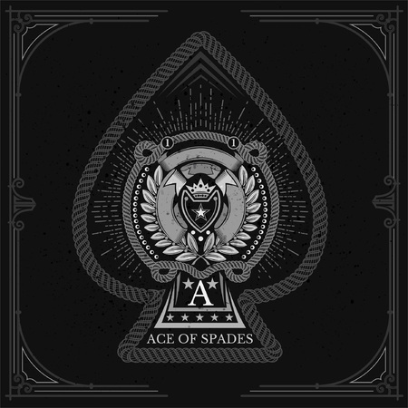 Ace of spades form with shield with crown between laurel wreath, cord and ribbon pattern inside. Marine design playing card element white on black
