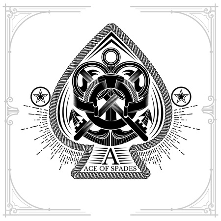 Ace of spades form with shield with anchor and crossed keys inside. Marine design playing card element white on black Stock Vector - 119976850