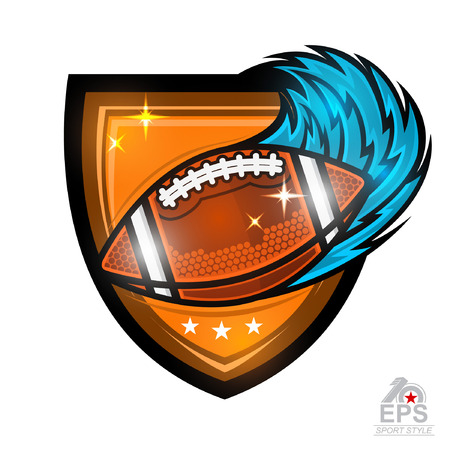 American football ball with blue speed trail in center of shield. Sport logo isolated on white for any team or competition