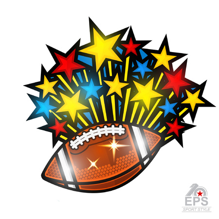 Colored stars fly out from american football ball. Sport logo isolated on white for any team or competition Vettoriali