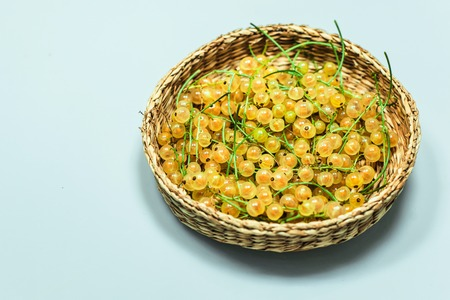 Close up little basket with white currant on white background