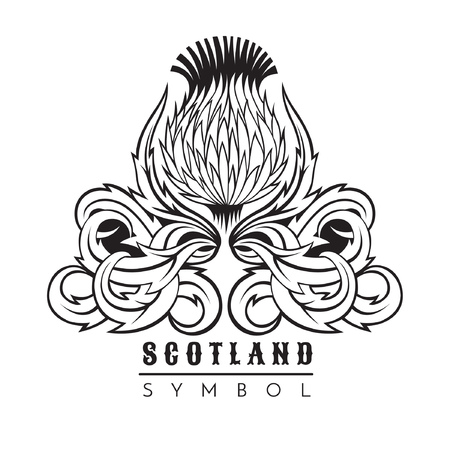 Thistle with leaf pattern. Symbol of Scotland design element black on white