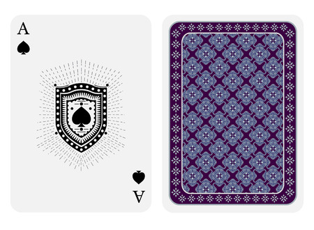 Ace of spades face and back side. Vector card template isolated on white