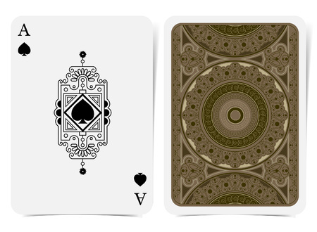 Ace of spades face with spades inside line pattern frame and back with brown geometrical pattern suit. Vector card template