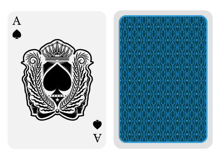 Ace of spades face with spades inside palm wreath with crown and back blue texture suit. Vector card template