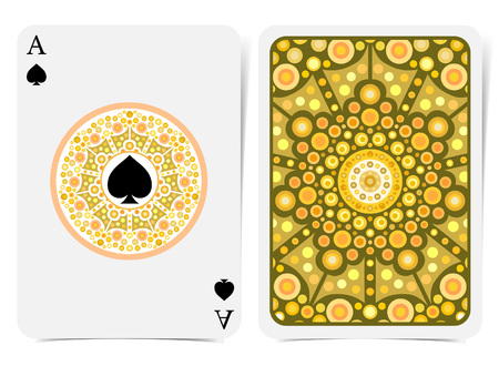 Ace of spades face with spades inside yellow geometrical pattern round frame and back with orange pattern on suit. Vector card template