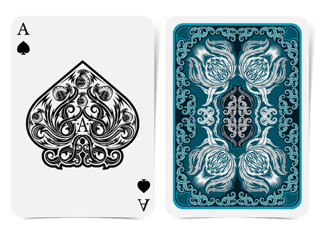 Ace of spades face with thistle plant pattern and back with blue and white floral pattern on dark suit. Vector card template