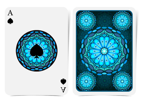 Ace of spades face with spades inside blue geometrical pattern round frame and back with circle blue pattern on suit. Vector card template Illustration