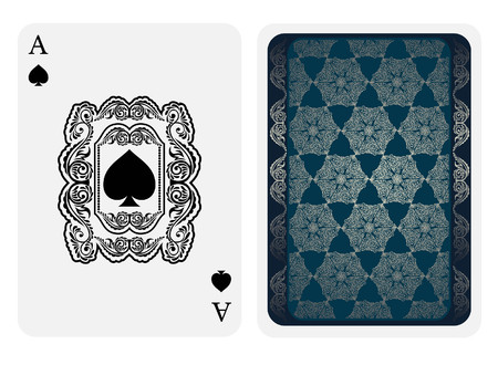 Ace of spades face with spades inside florar square pattern and back side with blue and silver pattern suit. Vector card template