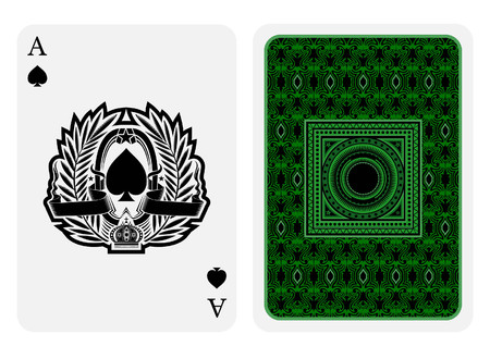Ace of spades face with spades inside palm wreath and back green suit. Vector card template