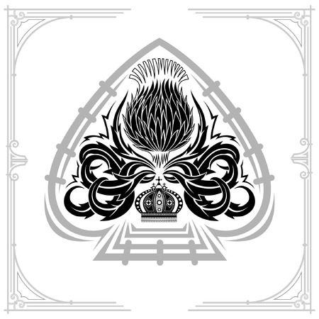 Ace of spades form and thistle floral pattern inside. Design element black on white