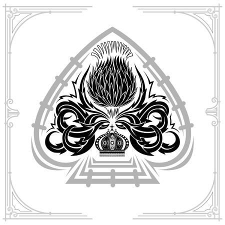 Forma di asso di picche e motivo floreale di cardo all'interno. Elemento di design nero su bianco