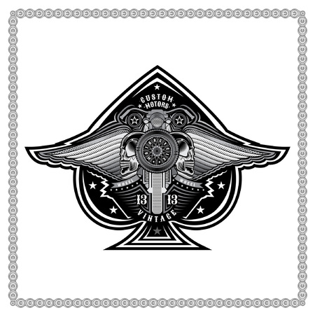 Ace of spades from motorbike wheel with motorcicle in center of spades between pair of wings and skulls. Motorcycle design for print or card on white