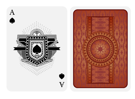 Ace of spades in line style shield face and back with pink gold texture suit. Vector card template