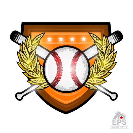 Baseball ball with crossed bats in the middle of golden wreath on shield isolated on white. Sport logo isolated on white for any team or competition