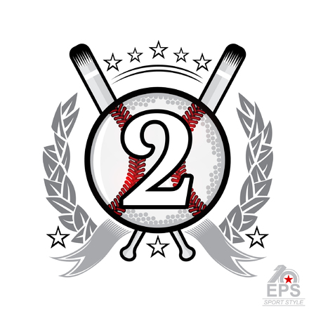 Baseball ball with number two and cross bats. Sport logo isolated on white for any team or competition